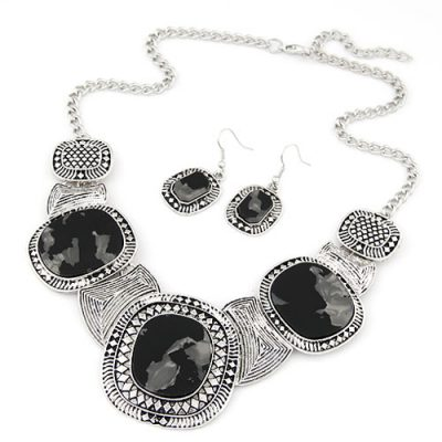 Chole silver and black necklace and earring set