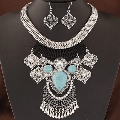 Sanaa tribal necklace and earring set in silver and turquoise