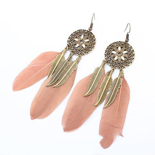 Bronze Feathered Earring Shop Online Empayah Jewellery