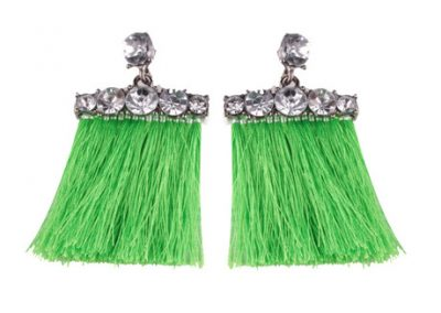 Bar gem fringed earrings green