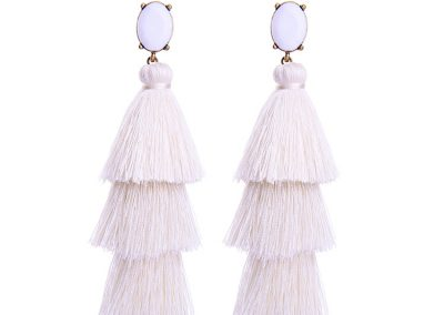 Gem tassel earrings white
