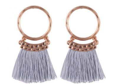 Midi fringed circle earrings grey