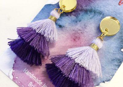 Mini stacked tassel earrings mini gold mirror with purple tones