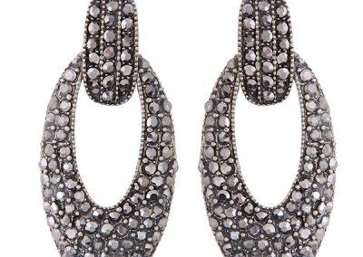 Oliander oval gem cluster statement earring