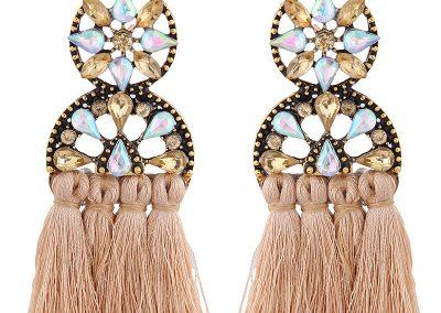 Champagne sundial fringed earrings