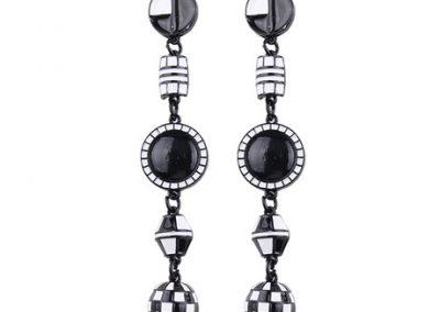 Mosaic enameled statement earring black