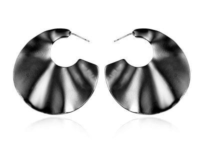 Rippled semi circle earrings gunmetal