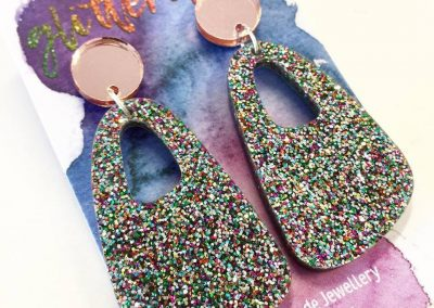 Wilma dangle fine confetti glitter with rose gold mirror