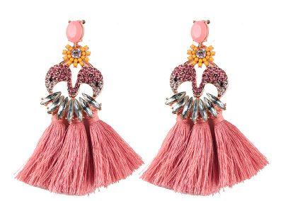Flamingo gem tassel earring pink