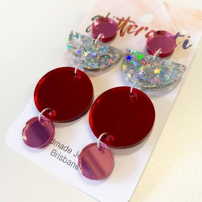 Handmade acrylic pink red silver glitter statement earring