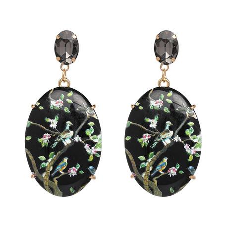 Bird floral gem statement black earring