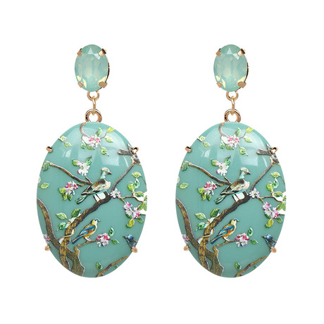 Bird floral gem statement pale blue earring