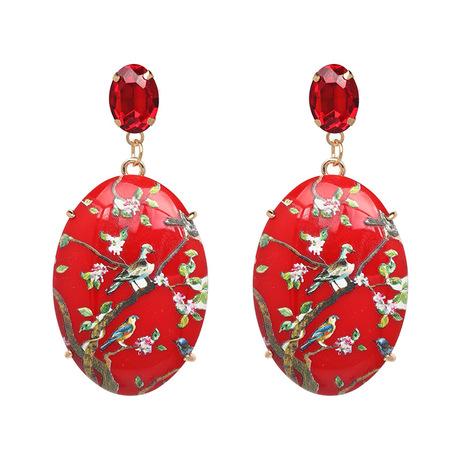 Bird floral gem statement red earring