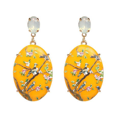 Bird floral gem statement yellow earring