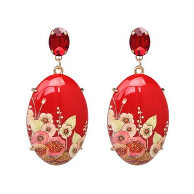 Red floral painted gem statement earring