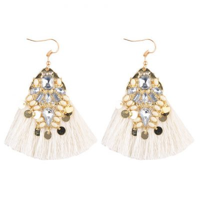 Fringed creamy white gem hook statement earring